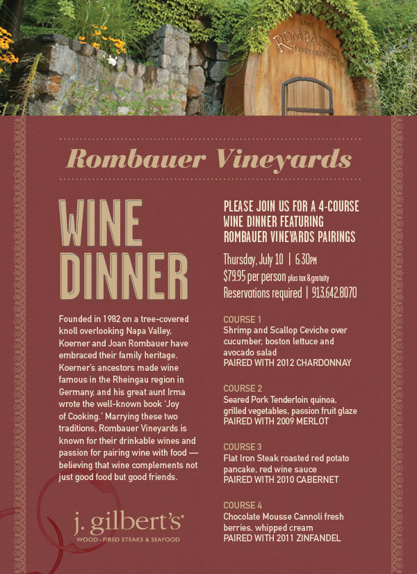 Join us for an exclusive Rombauer wine dinner.
